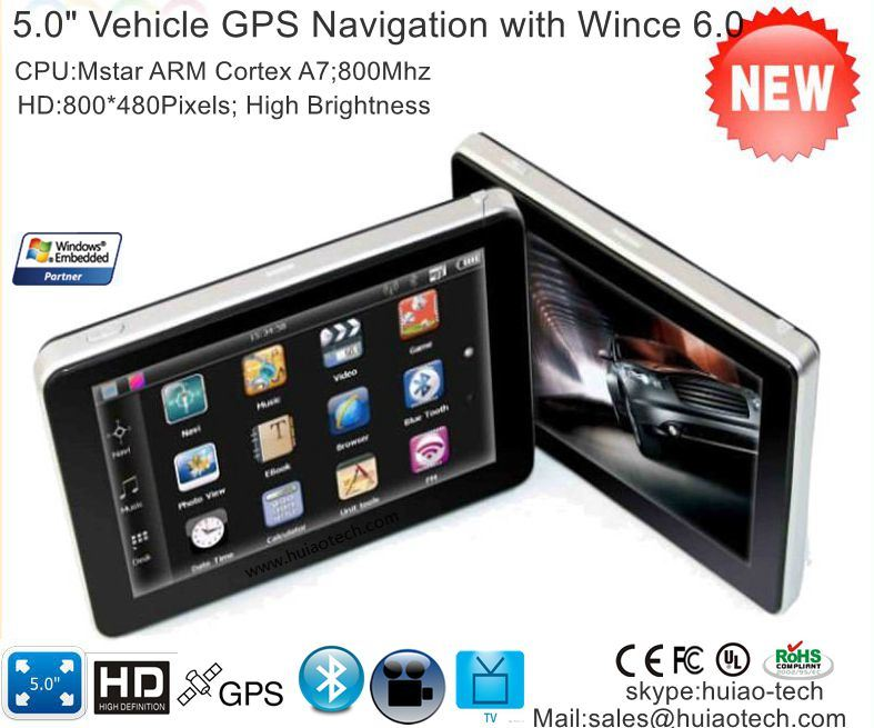 Hot Sale Portable Handheld 5.0 Inch Car GPS Navigator with Wince 6.0 Cortex A7 Dual Core 800MHz CPU, Bluetooth Handsfree, FM Transmitter Sat Nav G-5003