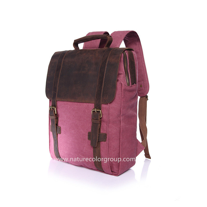 Canvas Student School Laptop Bag Backpack with Real Leather