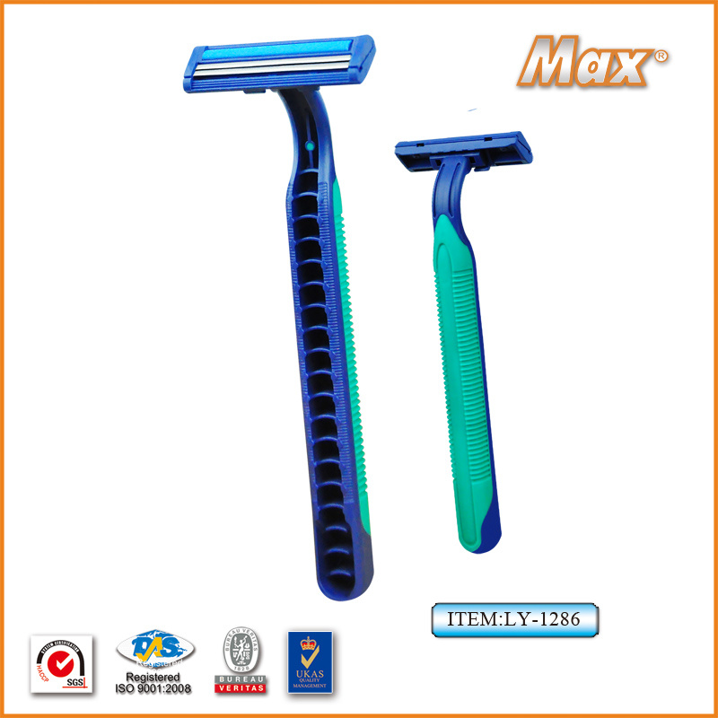 Platinum Coated Stainless Steel Twin Blade Disposable Shaving Razor (LY-1286)