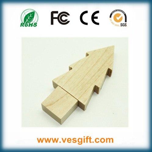 Wood Tree Shape Nice New Year Gift USB Flash Memory