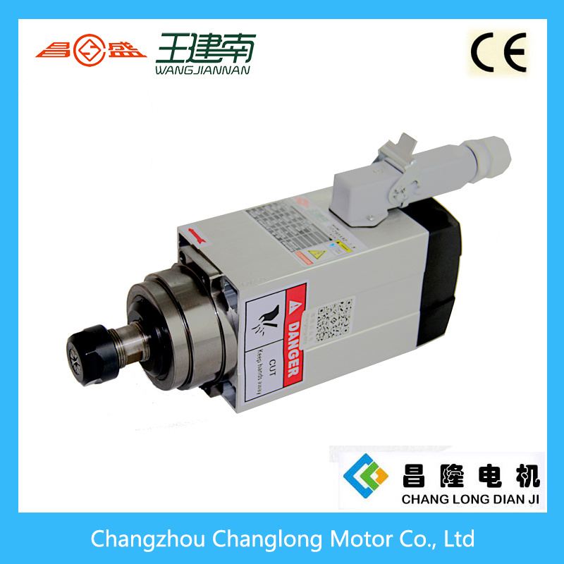 1.5kw 300Hz 18000rpm Er20 Square Air Cooled CNC Three Phase Asynchronous Spindle Motor
