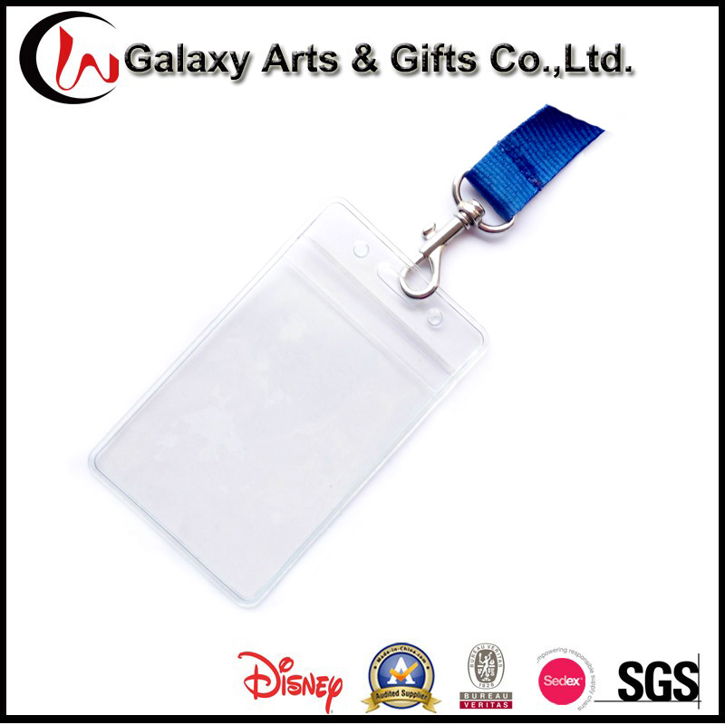 One Color Silk Creen Printed Blue Lanyards ID Badge Card Holder with Breakaway safety Buckle and P Hook