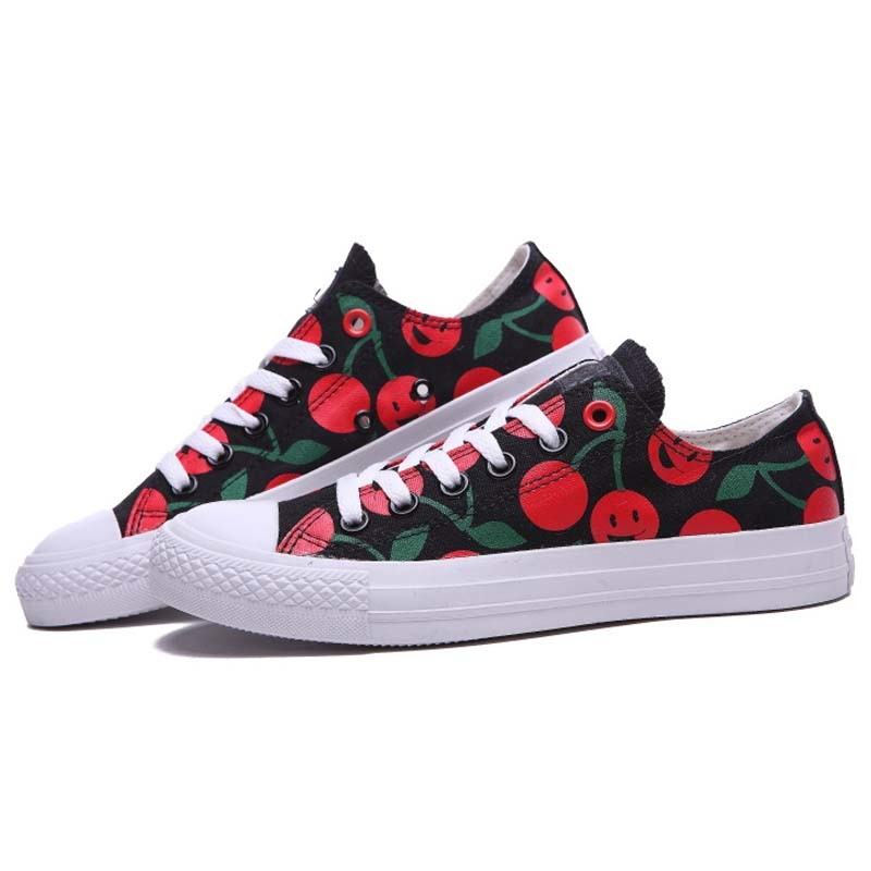 Customized Print Red Cherry Canvas Vulcanized Rubber Sneaker Shoes