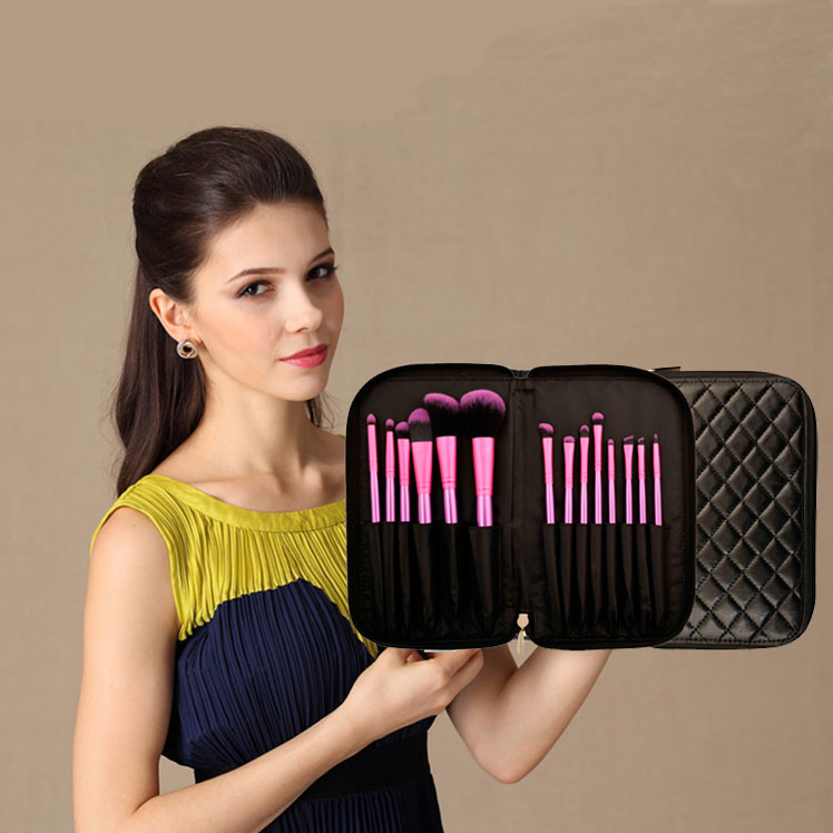 New 14PCS Synthetic Hair Cosmetic Makeup Brush with Zipper Pouch