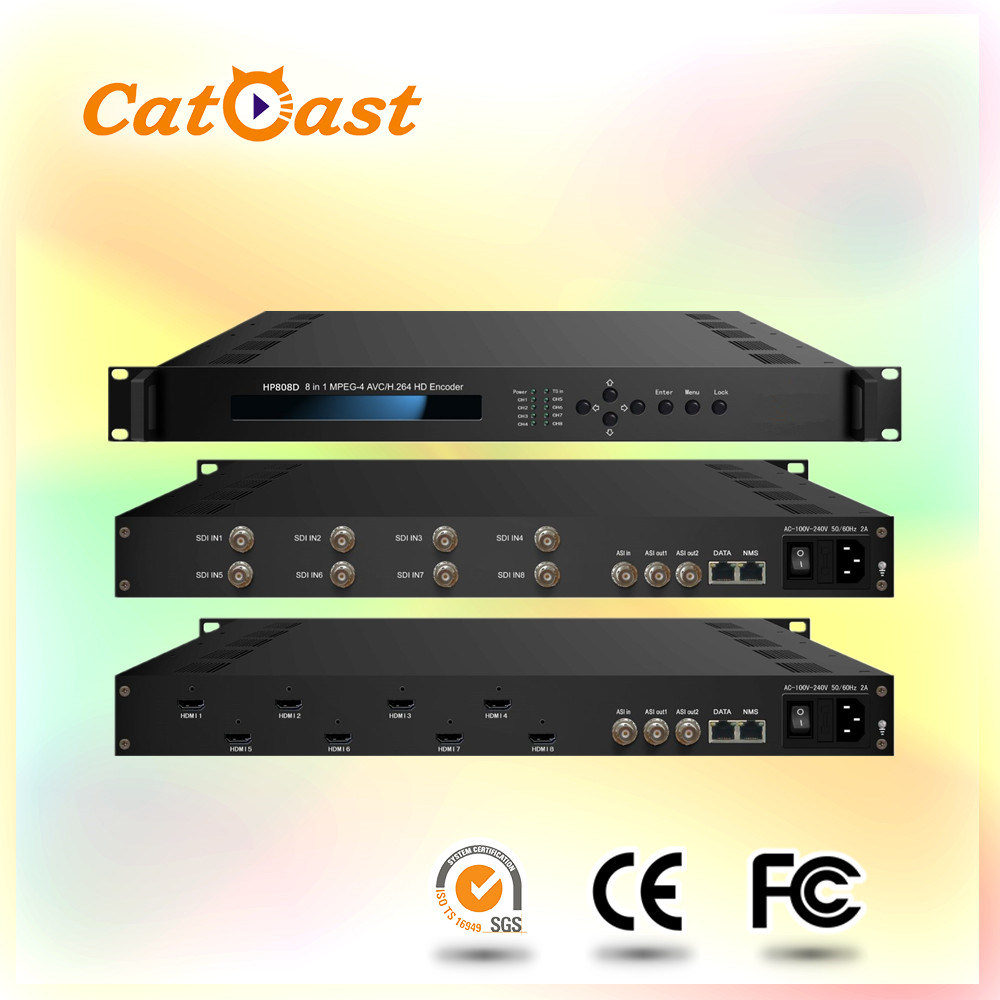 8 in 1 MPEG-4 H. 264 HD Encoder with 8 HDMI to IP Output