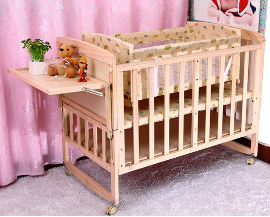 Solid Pine Wood Baby Bed with High Quality (M-X3017)