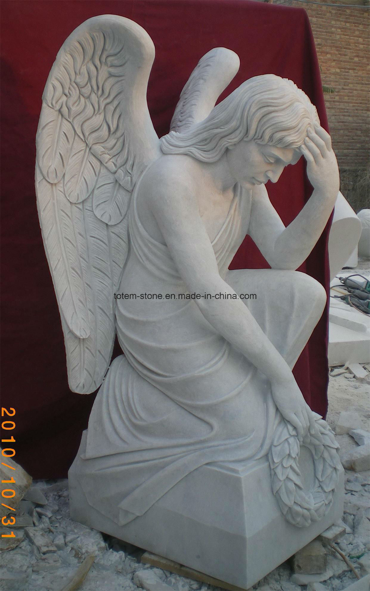 Chinese Granite Marble Tombstone Monument (angel and hearts)