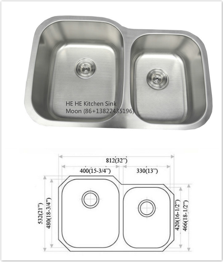 304 Stainless Steel Undermount 60/40 Sink for Kitchen with Cupc Certificate