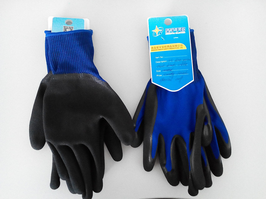 Polyester Shell Nitrile Sandy Coated Safety Work Gloves (N3401)