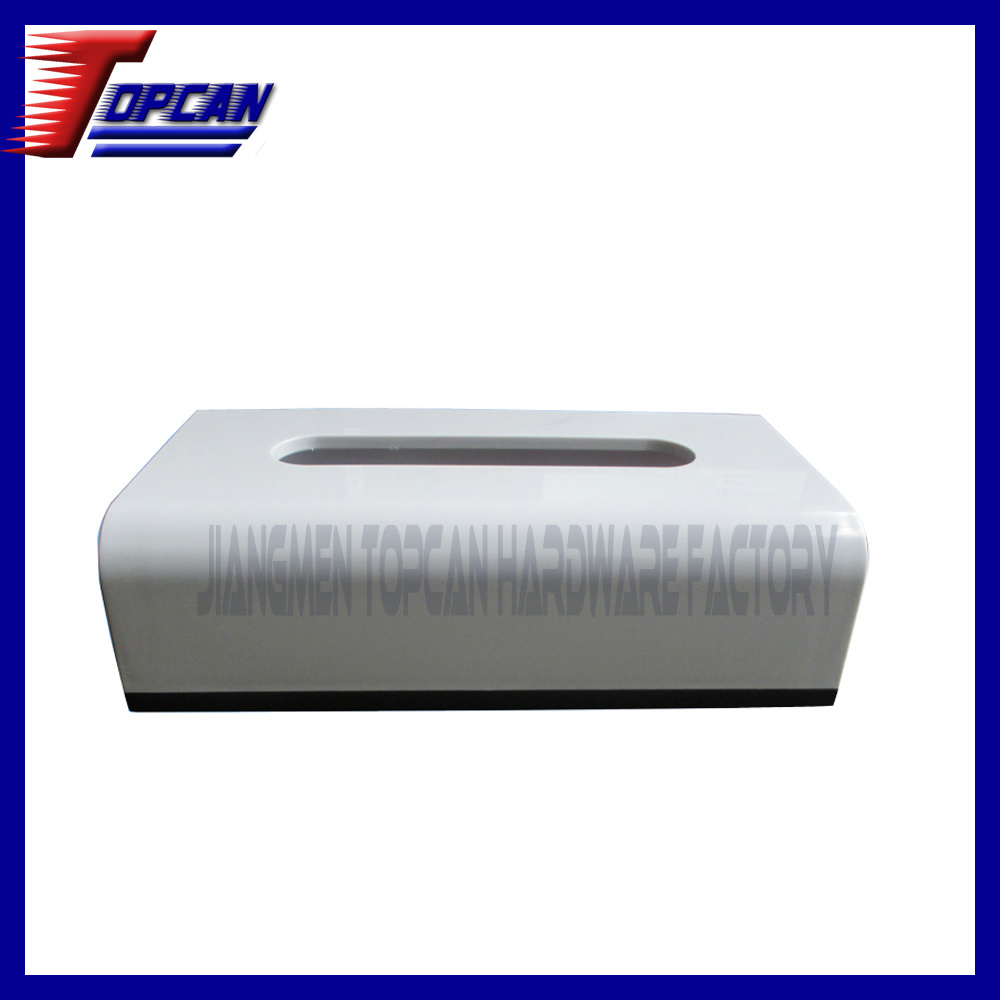 Simple Rectangle White Plastic Tissue Box Cover (TCZT-Z01)