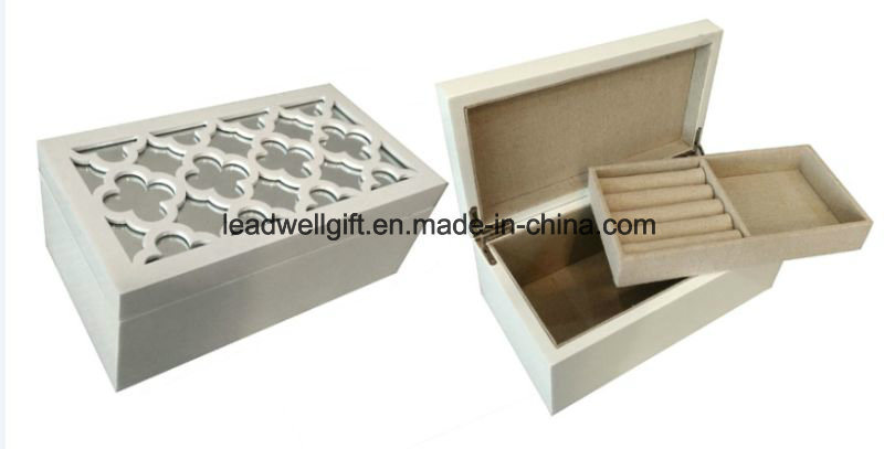 High Gloss White Wood Carving Flower with Mirror Jewelry Case Box