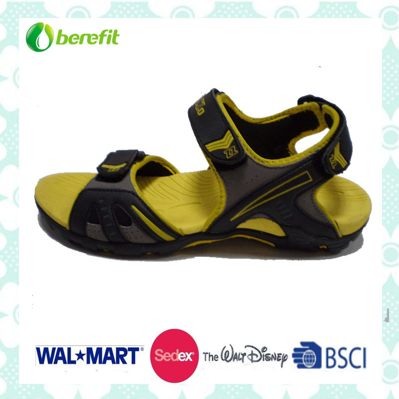 Yellow and Black Sole, PU Upper, Men′s Sandals