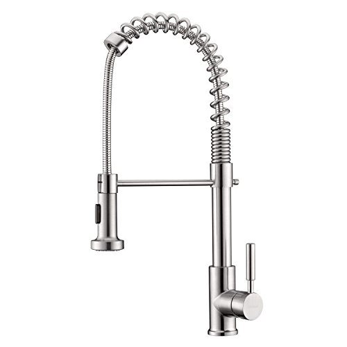 Kitchen Faucet, Brushed Stainless Steel Single Handle Pull out Sprayer Kitchen Mixer Faucet