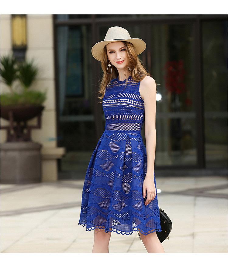 High-End Lace Hollow Sleeveless Blue Women Dress