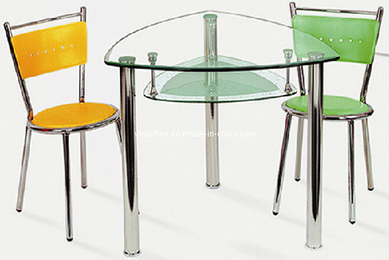 China triangle glass dining table with pvc dining chairs vic12 via6