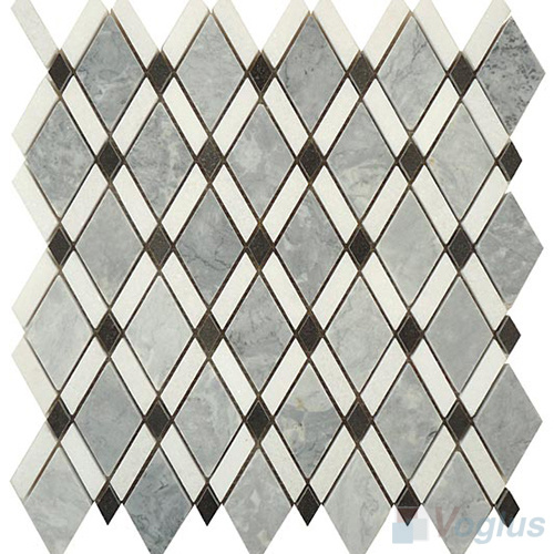 Polished Diamond Green White Black Marble Tiles Mosaic (VS-PDMA90)