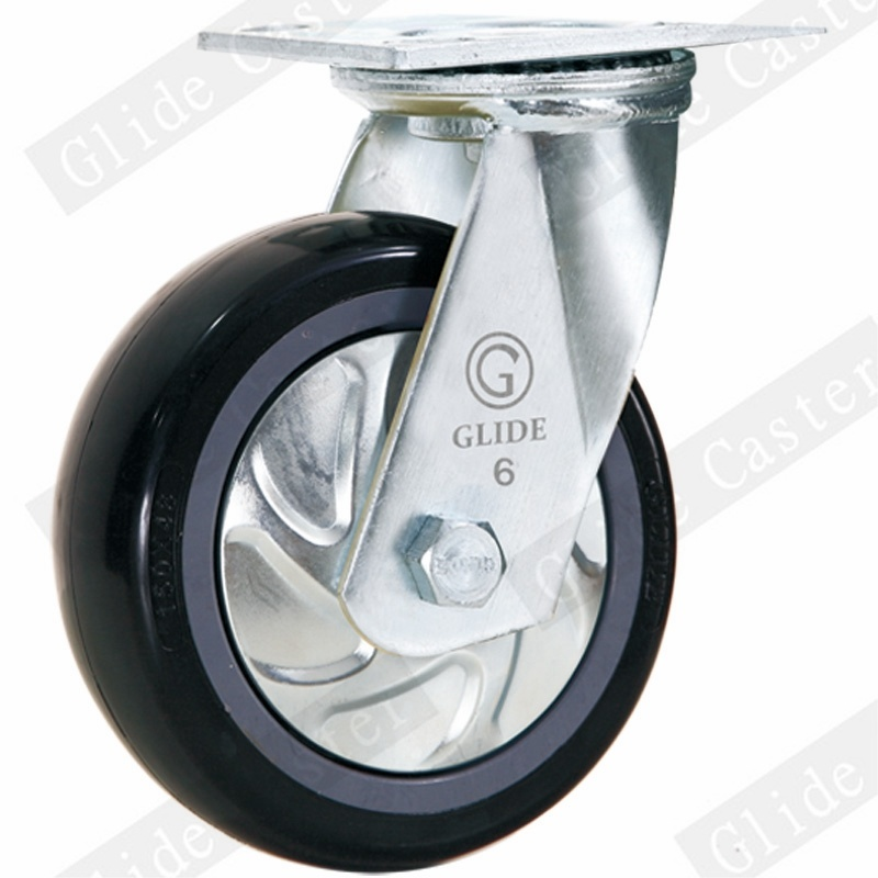 Heavy Duty PU Swivel Caster (Black) (Round Surface) (G4204D)
