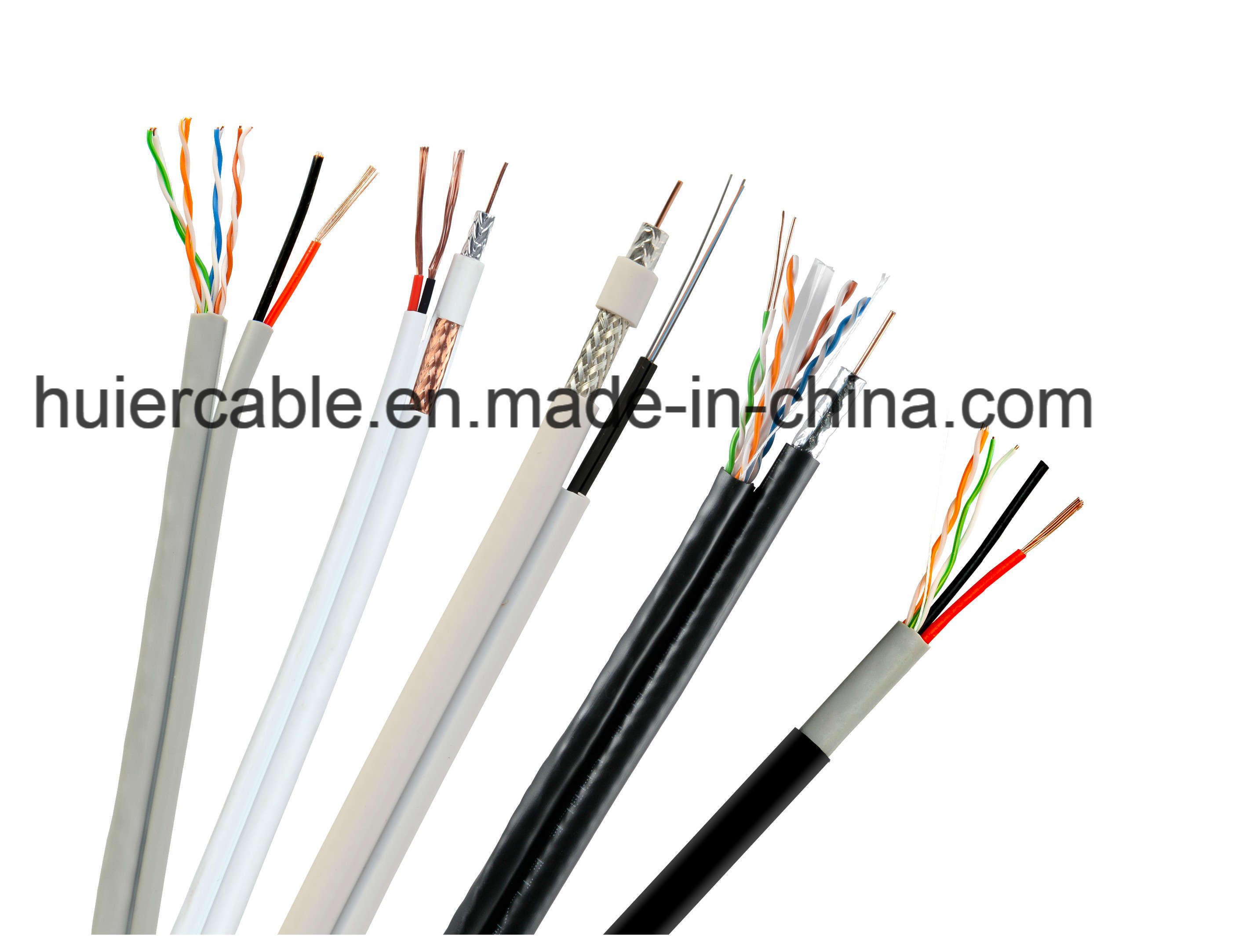 Composition RG6 CCTV Rg59 Cable for Security (Siamese with power wires)