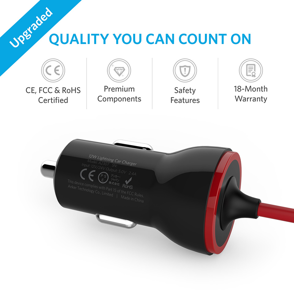 Anker 12W Car Charger, with 3FT Lightning Cable