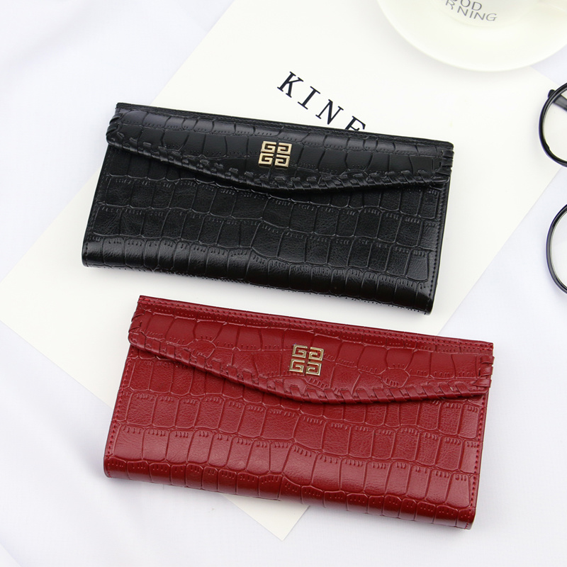 2017 Designed Women Classic Red and Black Crocodile PU Small Wallet (BDX-171007)