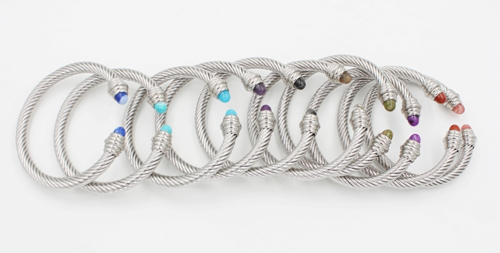 High Quality Stainless Steel Bangle with Interchangeable Stone Caps