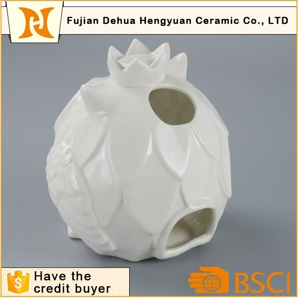 White Ceramic Hollow out Ceramic Owl Candle Holder