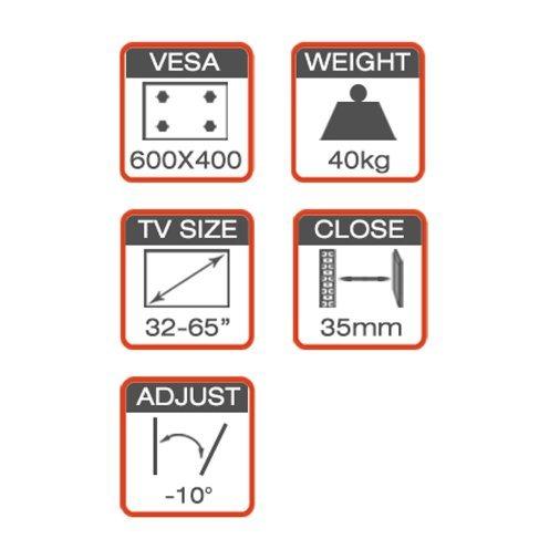 Super Economic TV Mount Fit for 32-70′′ with Optimal Tilt Adjustment Sysyem