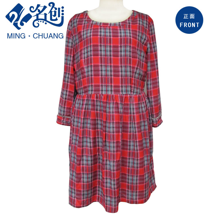 Newstyle Red Rayon Plaid Long Sleeve Round Collar Soft Dress