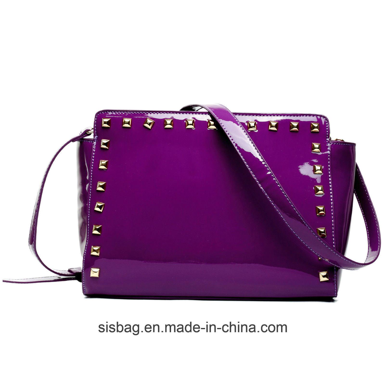 Womens Mirro PU Patent Bag Studded Cross Body Bag Shoulder Bag
