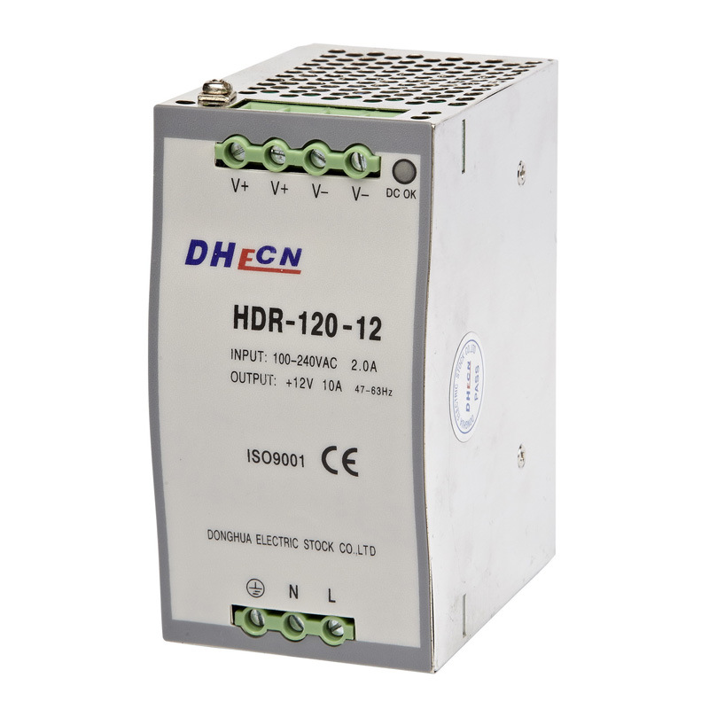 HDR-120, 120W DIN Rail Switching Power Supply 12VDC, 10A, / 24VDC, 5A, / 48VDC, 2.5A
