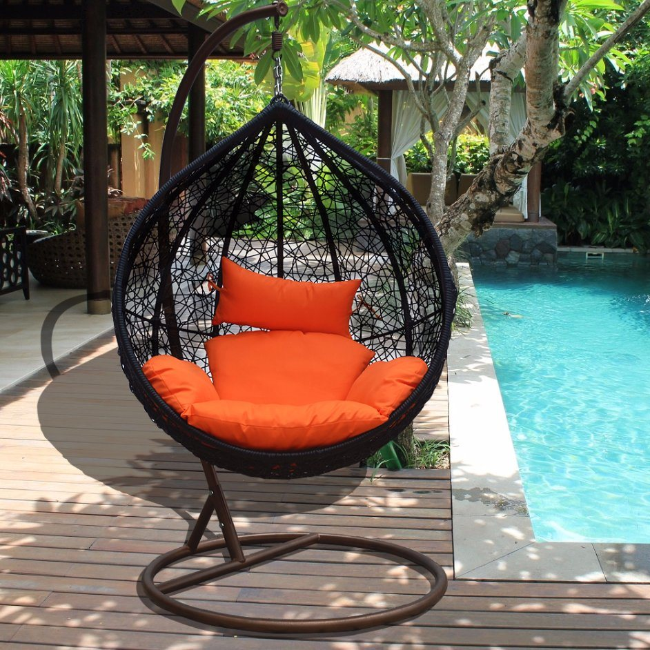 Modern Leisure Wicker Patio Outdoor Home Office Hotel Dia5.0mm Wicker Hanging Chair (J811)