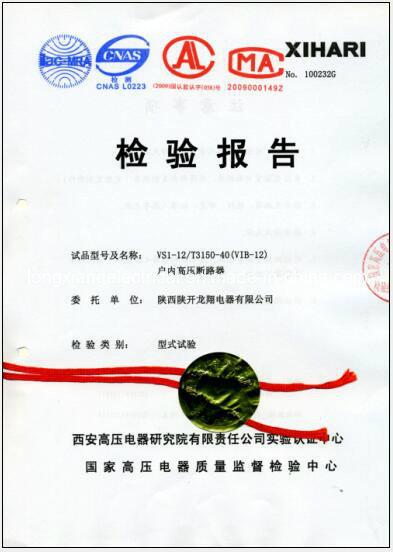 Vib1-12 Indoor Hv Vacuum Circuit Breaker with Xihari Type Test Report