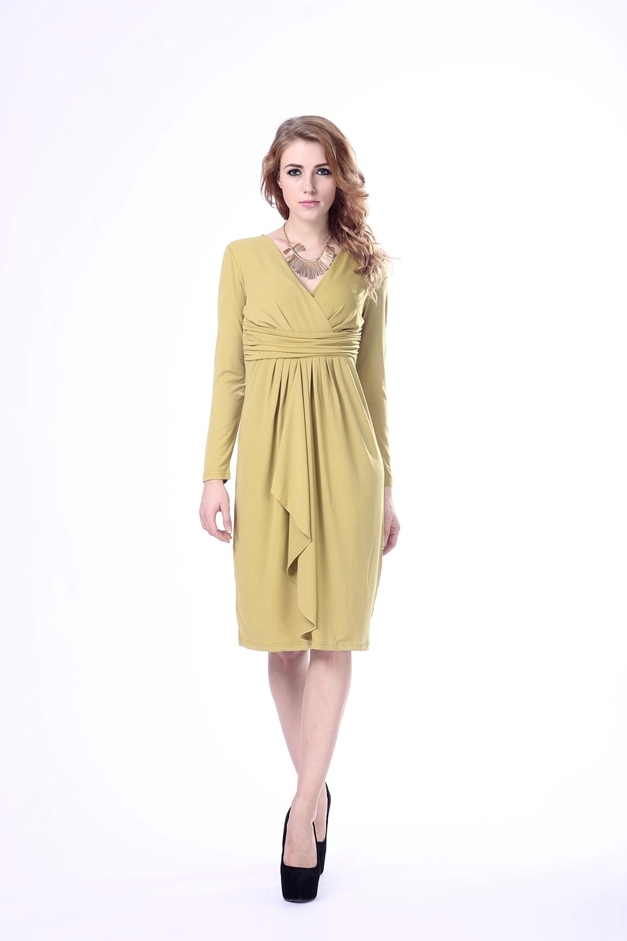 Lady Dress Long Sleeve Gentle Women Dress