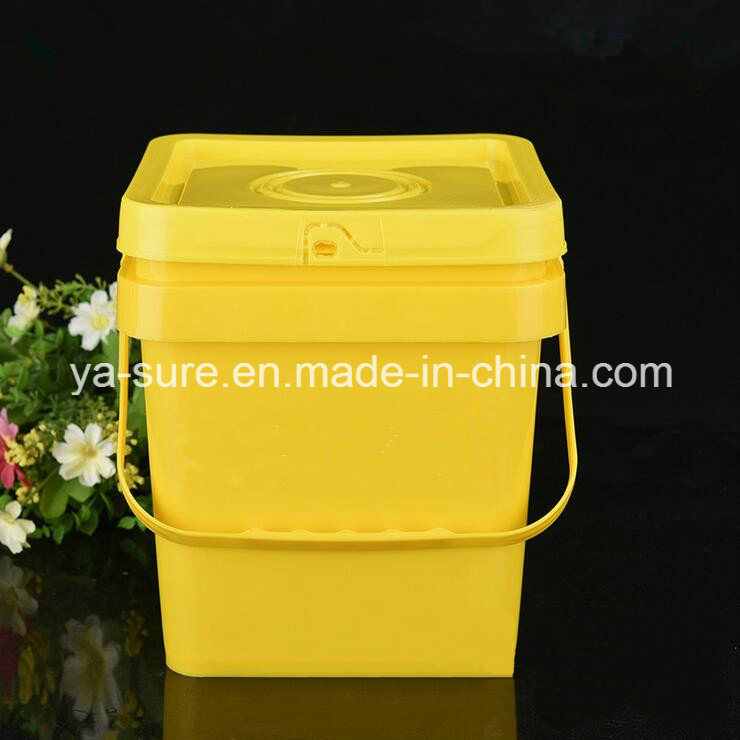 5L Yellow Square Plastic Bucket with Handle