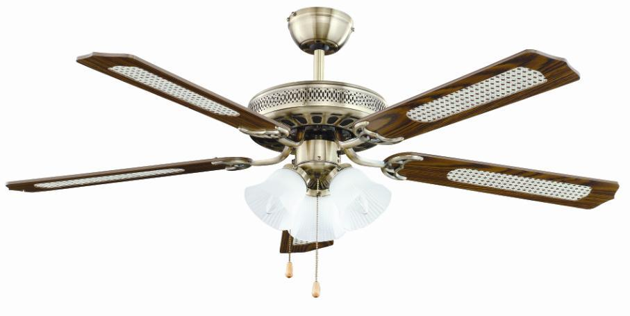 China 52 5 Blades 3 Lights Ceiling Fan