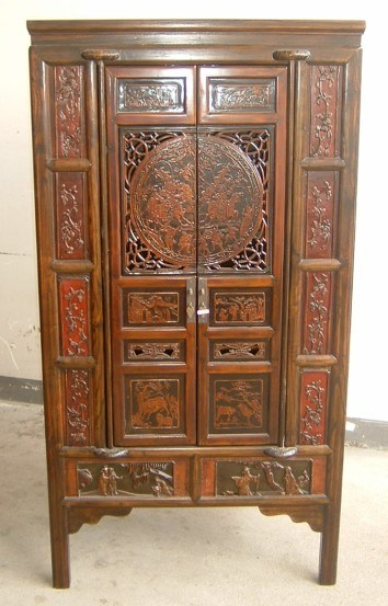 Chinese furniture 2 doors cabinet with carving chinese for Chinese antique furniture singapore