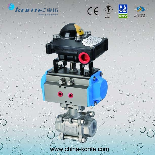 Pneumatic 3PC Thread Ball Valve with Limit Switch Box