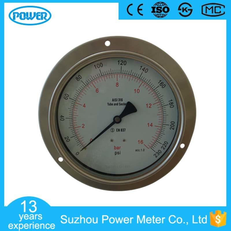 6 Inch 150mm Panel Mounted Stainless Steel Pressure Gauge