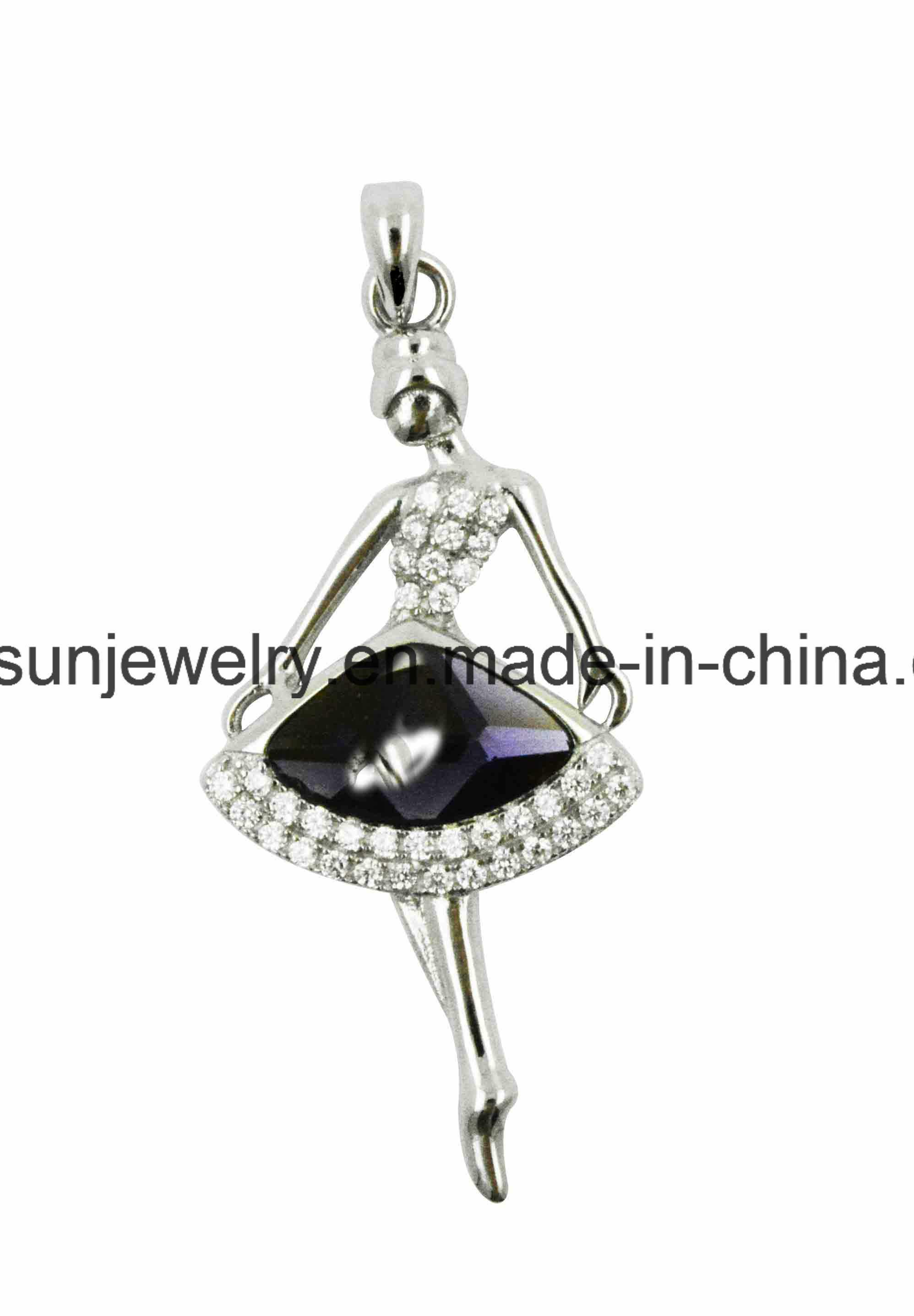 925 Silver Jewelry Dancing Girl Ballerina Girl Pendant
