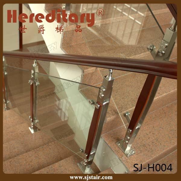 Stair Balcony Tempered Glass Handrail / Stainless Steel Stair Glass Railing (SJ-H023)
