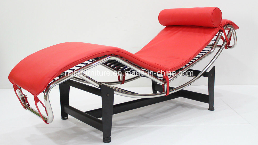 Modern LC4 Stainless Steel Real Leather Chaise Lounge Chair
