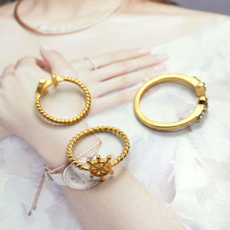 Gold Plated Anchor Rudder Ring Set Open Rings Fashion Jewelry