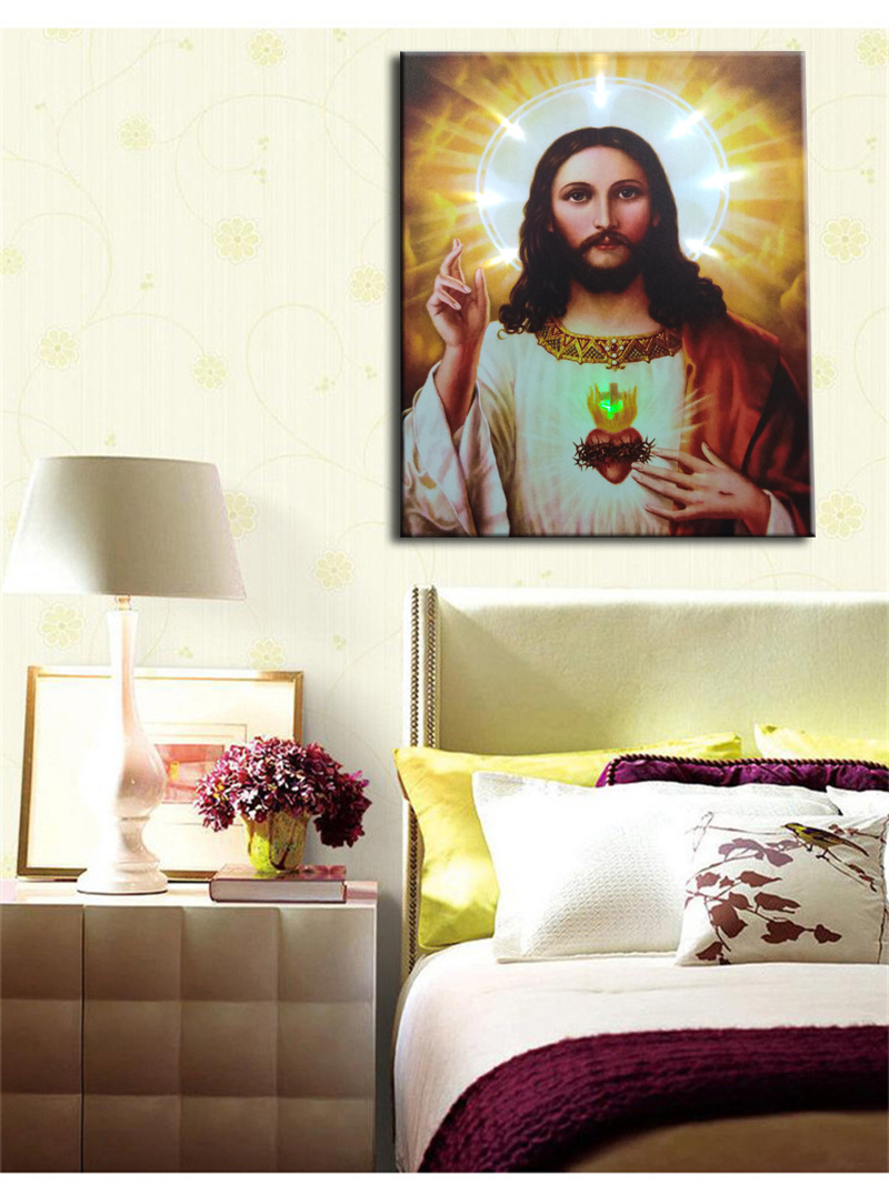 Wholesale 2016 Latest LED Light Oil Paintings on Canvas Jesus, Decoration Painting