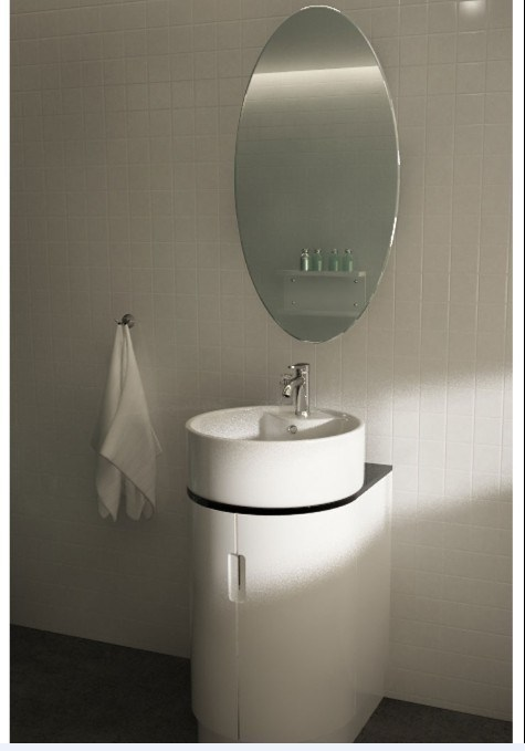 White Round Floor Mounted Pvc Bathroom Vanity Cabinet