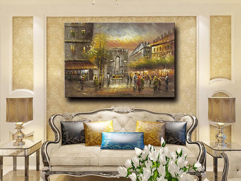 Hotel Decorative Wall Art Paris Street Art Canvas Oil Painting