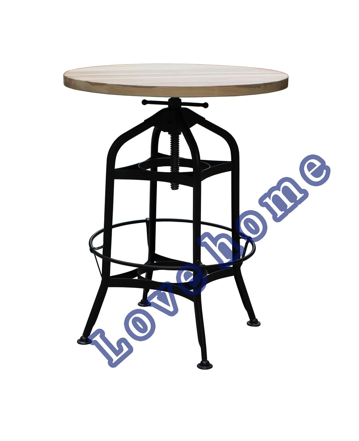 Industrial Metal Restaurant Wooden Turner Vintage Toledo Swivel Bar Table