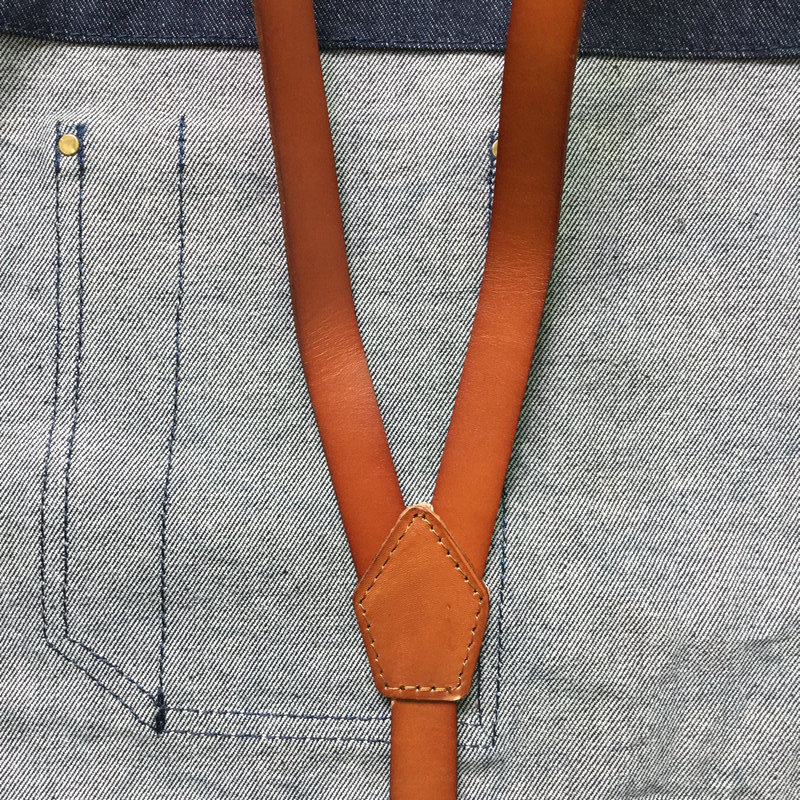 Custom Denim Apron with Leather Strap for BBQ