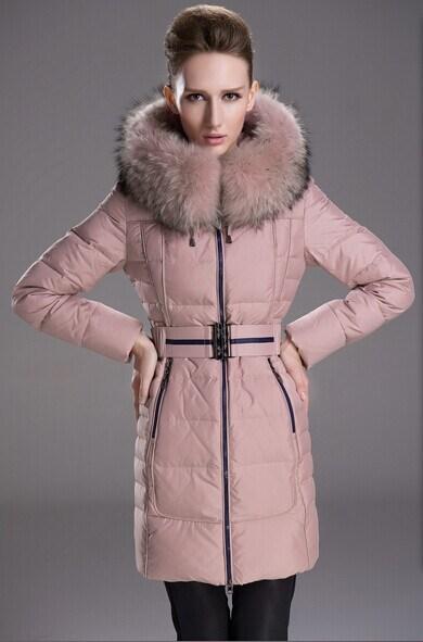 Skinnwille Winter Women Slim Thick Medium-Long Hooded Down Jacket Raccoon Fur Collar Down Coat Brand Down Parka with Belt