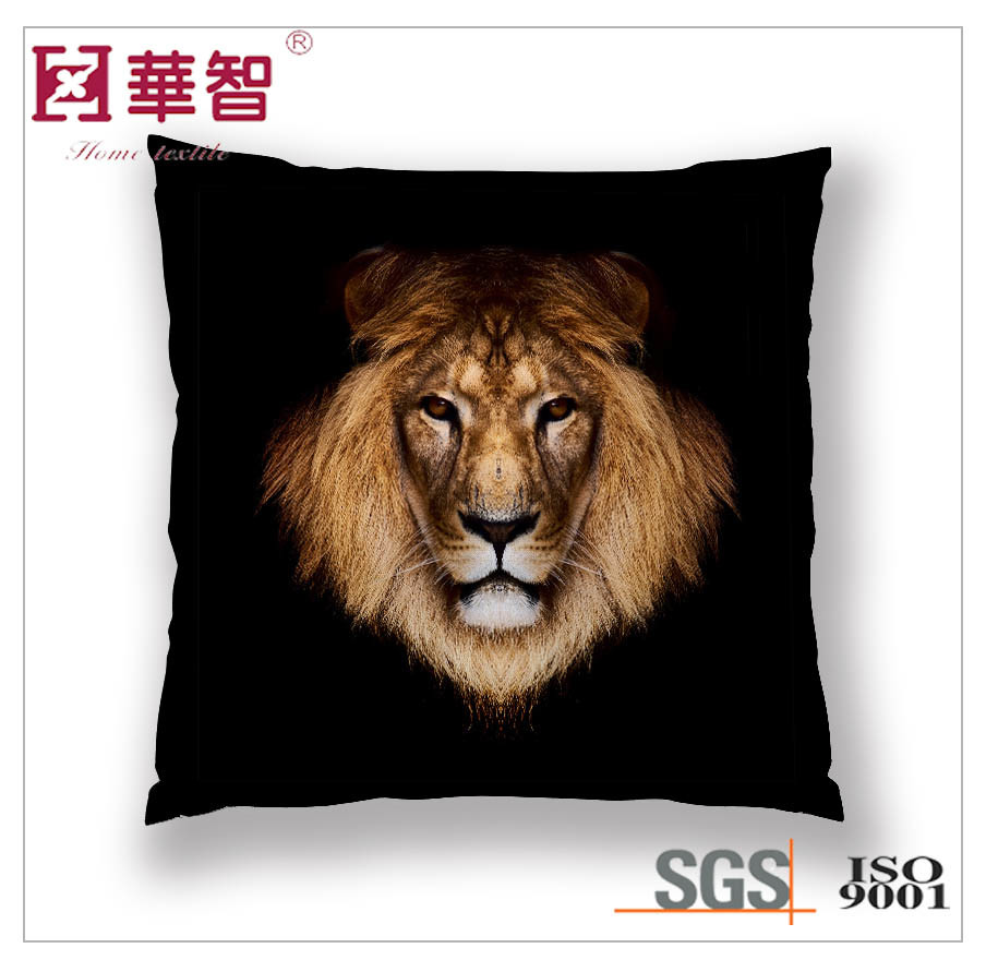 Lion Digital Printed Cushion Cover, Square Pillow