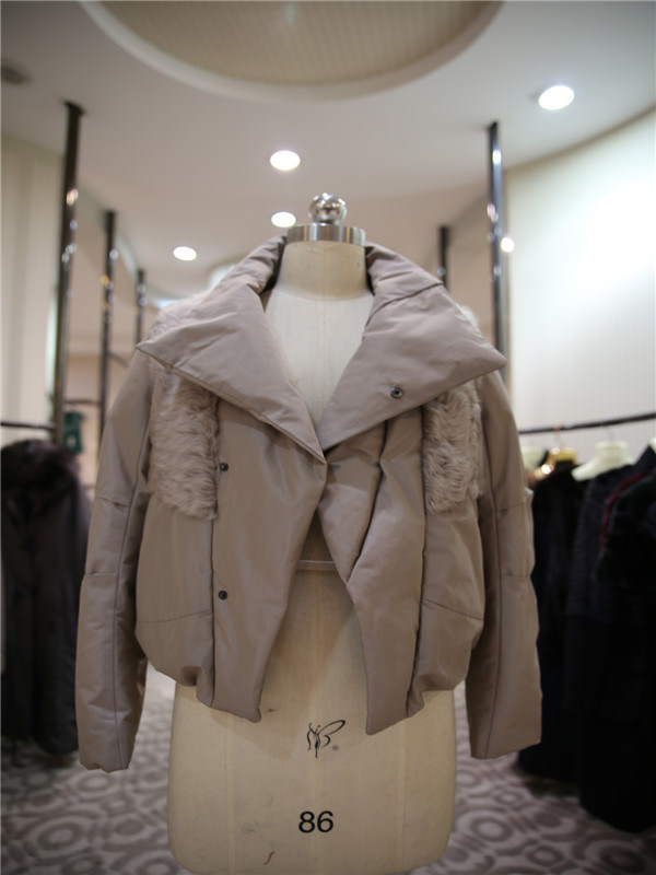 Women′s Short Down Jacket Coat with Big Turnover Collar